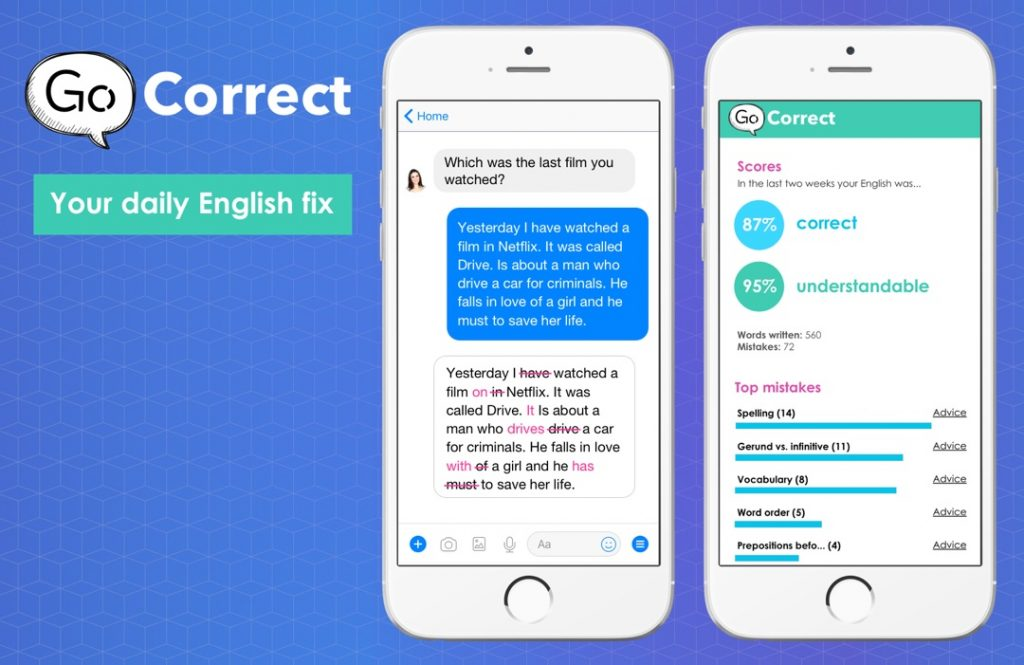 Screen shots of Go Correct showing a corrected text messages and some scores